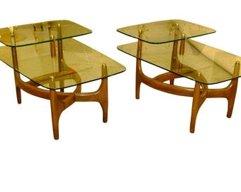 Mid Century Modern, vintage, glass and walnut wood frame end tables