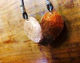 Copper Heart Recycled Handmade Hand Formed Pendant On Leather With Sterling Silver Artisan Art OOAK Upcycled Beauty Repoussed Metalsmithing