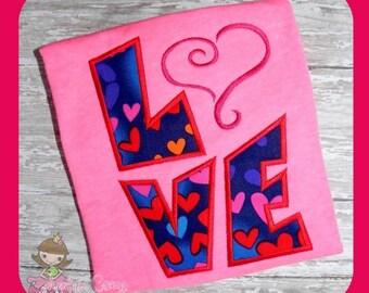 LOVE Applique Embroidery file