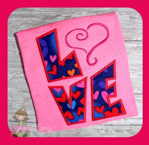 LOVE Applique Embroidery file