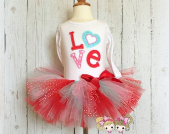 Girls Valentine's Day outfit - LOVE Valentine's Day tutu outfit - red and blue tutu - L-O-V-E shirt with red tutu - 1st Valentine's Day