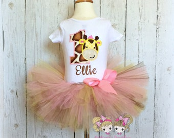 Giraffe Birthday Tutu Outfit- Pink, Brown, and Yellow- Giraffe birthday number- Custom embroidery