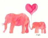 Pink Elephants Watercolor, Fine Art Giclee Print, Nursery, Baby, mom and baby animals, 8x10