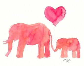Pink Elephants Watercolor, Fine Art Giclee Print, Nursery, Baby, mom and baby animals, 8x10, watercolor elephant, pink heart