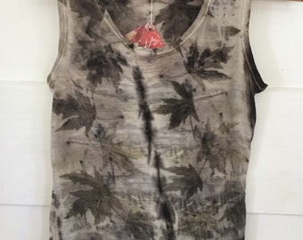 Maple leaf Singlet Naturally plant dyed Eco Print Leaf Print Merino wool women's top  LARGE