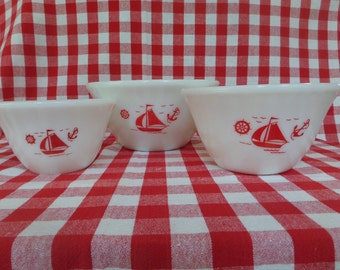 Vintage McKee Red Sailboat Mixing Bowl Set/3 -- 1950's -- Red and White Bowls
