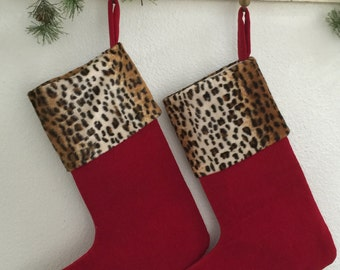 SALE***Cheetah Cuff, Red Velvet Christmas Stockings (2)