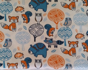 Cotton Flannel Fabric, Colorful Forest Animals on White -By the Yard- Fox, Raccoon, Bear, Owl, Squirrel,  baby, cute, blanket, soft, warm