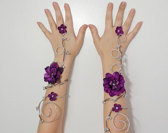 Silver and purple arm cuffs - fairy accessory