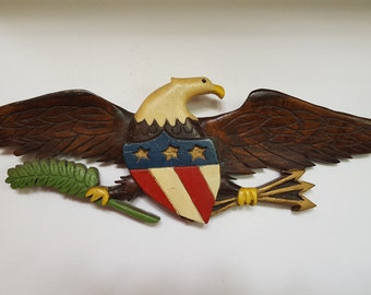 Rustic American Eagle, Hand Carved and Painted American Bald Eagle, 1960's Circa Solid Wood Eagle, USA Eagle, Vintage 60s Eagle, Handpainted