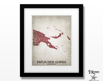 Papua New Guinea Map Art Print - Home Is Where The Heart Is Love Map - Original Custom Map Art Print Available in Multiple Sizes & Colors