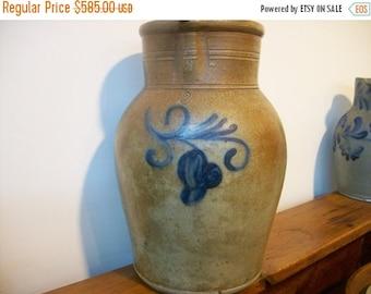 SUMMER SALE Antique Stoneware:  Two gallon PENNSYLVANIA  Stoneware Pitcher Cobalt Floral Design Field Pitcher Water Pitcher Primitive Potter