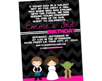 GIRLS STAR WARS  party invitation - printable digital file
