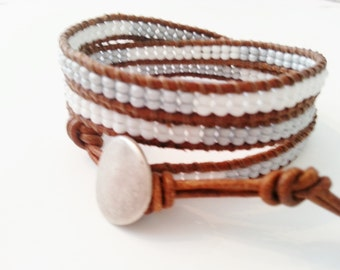 3x wrap leather bracelet, seed bead erap bracelet, white gray wrap bracelet