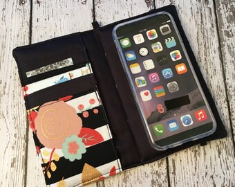Stripes and florial print iPhone wallet case, iPhone wristlet with removable gel case