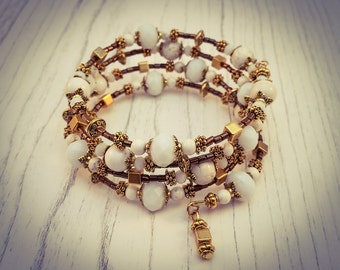 White Turquoise and Faceted Glass Gold Memory Wire Wrap Bohemian Gemstone Cuff Bracelet - [B9]