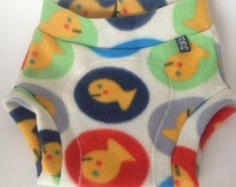 MEDIUM Fleece Diaper Cover / Soaker: Primary Colors with Goldfish
