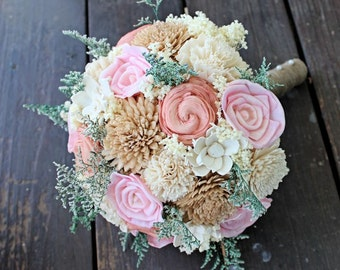 Romantic Wedding Bouquet -Bridal Bouquet, Natural Sola Flower Bouquet, Keepsake Wood Bouquet, Shabby Chic Rustic Wedding