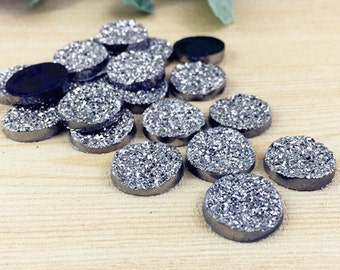 30pcs Wholesale Cabochons 14mm Round Resin Druzy Cabochon Glitter Resin Cabochons 302-1