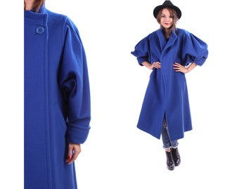 SALE... OPEN FRONT Duster Coat 80s Cobalt Blue Wool Oversize Cocoon High Collar Midi Sculptured Slouch Oversized Winter Pockets Coat Medium