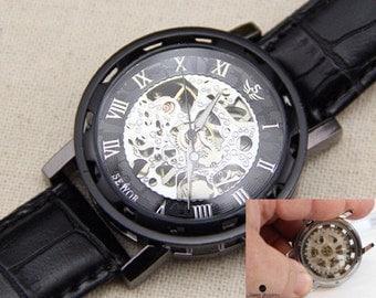 Personalized Engraved Man Watch Skeleton Mechanical watch. Steampunk Watch Gear Watch, Groomsmen Gift, Father of bride gift
