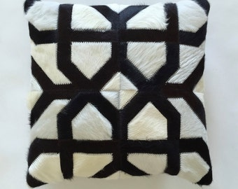 Cowhide Pillow - Black White Patchwork Cushion - 15 x 15 in