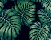 Fabric, Hawaiian Monstera Leaf, Polyester Fleece, by the yard