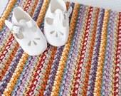 crochet baby blanket pattern Aida cotton dk PDF pattern unisex colourful stripy instant download