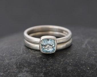 Aquamarine Wedding Set - Aquamarine Engagement Ring - Aquamarine Cushion Ring in Sterling Silver - Handmade Wedding Ring - Made to Order