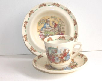 Royal Doulton Bunnykins, childrens collectible dinnerware set, cup saucer and bowl. Royal Doulton fine bone china
