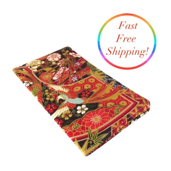 Japanese Fabric Book Cover : Japanese checkbook wallet cover cash