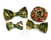 Real Tree - Animal Collar Bow Ties & Flower, Loop Velcro Attachment