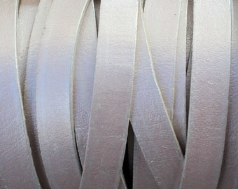 10mm Flat Leather Strap - Metallic Pearl White