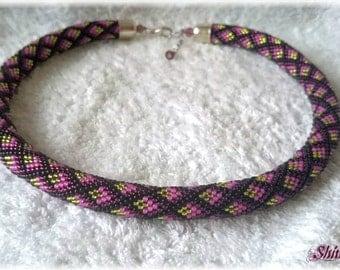 Colorful rhombus seed bead necklace elegant accessory handmade geometric pattern