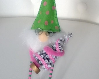 Pink and Green Christmas Gnome with Glasses Figurine Decoration Home Decor Ooak