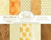 Digital Paper Fall, Digital Paper Watercolor, Digital Paper Autumn, Gold and Ivory Digital Paper, Sunflower Paper, Digital Paper Wood #15064