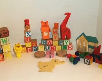 Lot of Wooden Blocks, Animals, Etc. (50 plus)