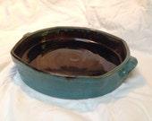 Wheel-thrown stoneware casserole, handmade.  Turquoise and brown.