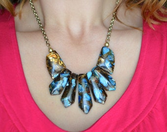 Blue Jasper and Bronzite Necklace and Chain