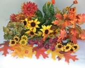 Reserved for Marja- - - - - - - - - - - FLORAL CRAFT LOT Sunflowers Mulberry Roses Greenery Fall Leaves Strawflower Fall Autumn Picks Stems
