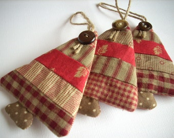 Fabric Christmas ornaments Country colors Set of 3 Sand Burgundy classic 2015 edition