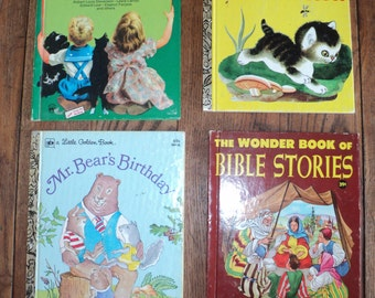4 Vintage Children's Books, 2 Little Golden Books, A Romper Room Book of Poetry and The Wonder Book of Bible Stories in Good Condition