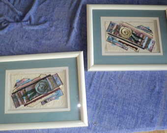 Original Shadowbox Framed Art Works composed of handmade papers Signed by The Artist E. Rose in Very Good Condition, 1970's Style Decor