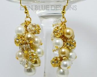 Pearl Cluster Earrings, Champagne, White & Ivory Chunky Earrings, golden cluster earrings, golden bridal jewelry, pearl/rhinestone earrings