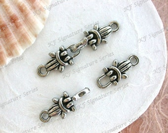 Lead Free Pewter Unique Vintage Style Hook & Eye Clasps, Made in USA, Copyright © Protected Pewter Beads, KF Signature Series  K362-AP