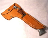 Vintage Western Hunting Knife/Axe Combo with Matching Handles, Made in U.S.A., With Sheath