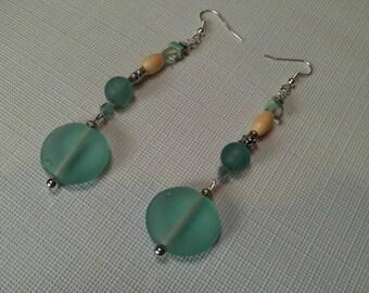 Translucent Seafoam/Aqua Long Drop Earrings, Sea Glass, Wood and Glass Earrings, Silver & Aqua Jewelry, Summer Jewelry SALE, Long Earrings