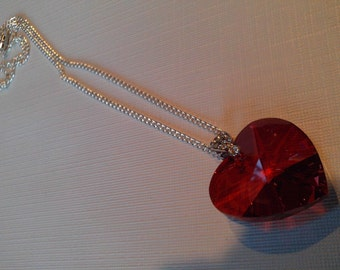 Large Crimson Red Faceted Heart Necklace, Bold ,Large Jewelry for HER, Heart Necklace, Valentine Jewelry, Crystal Heart Necklace Sale