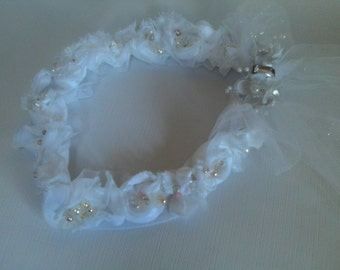 "White Bridal Headpiece,""The Estelle"" Adjustable Bridal Hair Wreath, Prism Veiling, White Floral, Hand Sewn Pastel Pearls , Wedding Headpiece"