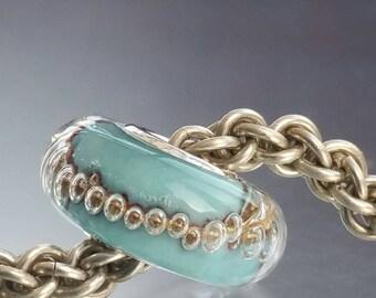European Style Lampwork Glass Charm Bead - Storm -  big hole bead, european charm bead bracelets UK